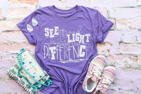"1) Short sleeve shirt ""ISee The Good Be The Light Make The Difference"" (accessories in the photo are not included)"