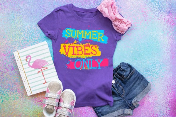 "(1) Short sleeve shirt ""Summer Vibes Only -Youth"" (accessories in the photo are not included)"