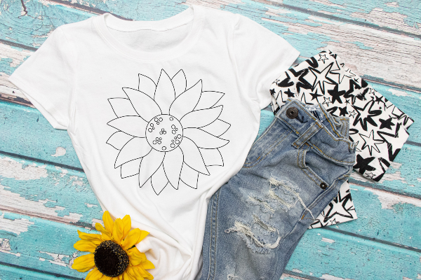"(1) DIY white coloring shirt ""Sunflower"" (accessories in the photo are not included). Washable markers can be purchased here: https://amzn.to/2TMjQlH (affiliate link)"