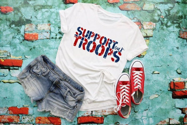 "(1) Short sleeve shirt ""Support Our Troops"" (accessories in the photo are not included)"