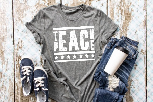 "Short sleeve shirt ""Teach Peace"" (accessories in the photo are not included)."