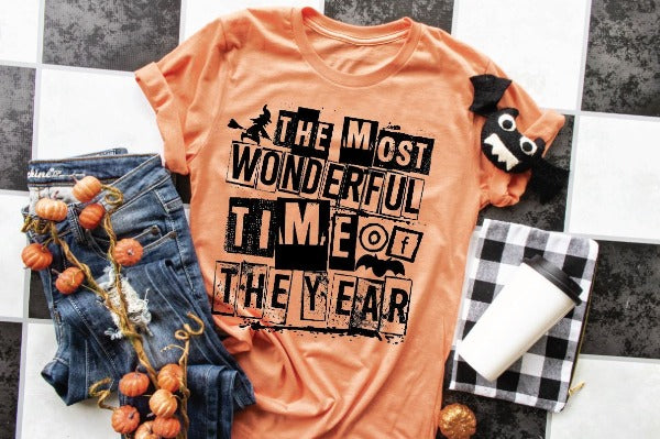 "(1) Short sleeve shirt ""The Most Wonderful Time Of The Year"" (accessories in the photo are not included)."