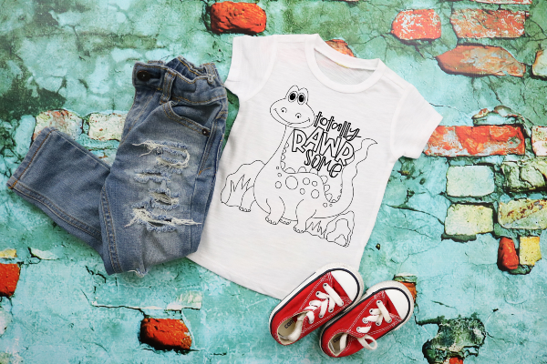 "(1) DIY white coloring shirt ""Totally Rawrsome"" (accessories in the photo are not included). Washable markers can be purchased here: https://amzn.to/2TMjQlH (affiliate link)"