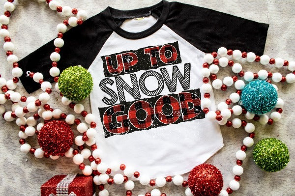 "(1) 3/4 sleeve shirt ""Up To Snow Good - Youth Shirt"" (accessories in the photo are not included)"
