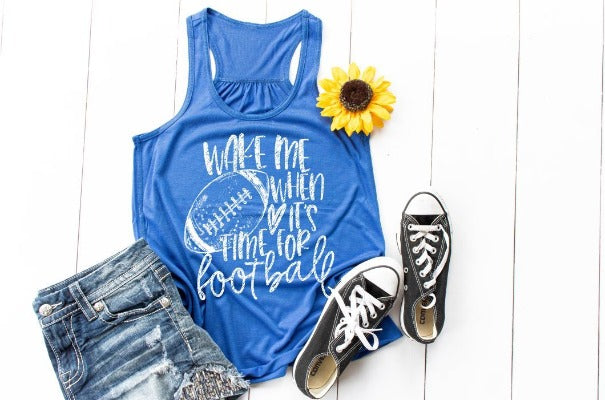 "(1) Racerback Tank ""Wake Me When It's Time For Football"" (accessories in the photo are not included)"