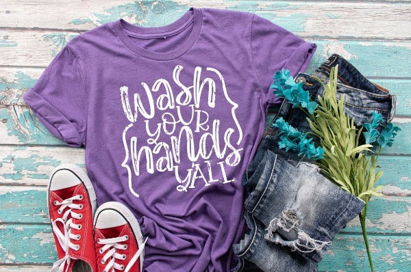 "(1) Short sleeve shirt ""Wash Your Hands Y'All"" (accessories in the photo are not included)"