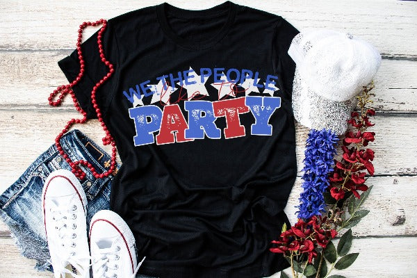 "(1) Short sleeve shirt ""We The People Like To Party"" (accessories in the photo are not included)."