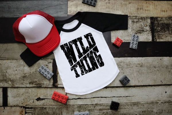 "(1) 3/4 sleeve shirt ""Wild Thing"" (accessories in the photo are not included)."