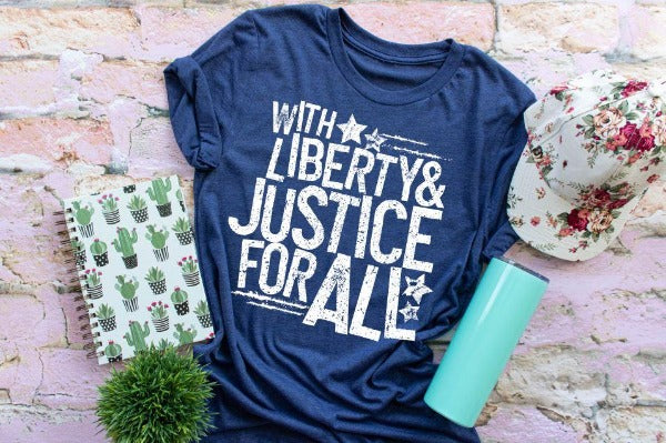 "(1) Short sleeve shirt ""With Liberty And Justice For All"" (accessories in the photo are not included)"