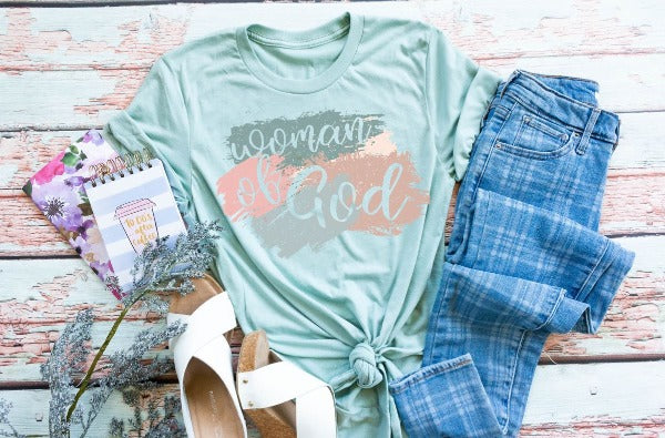 "(1) Short sleeve shirt ""Woman Of God"" (accessories in the photo are not included)"
