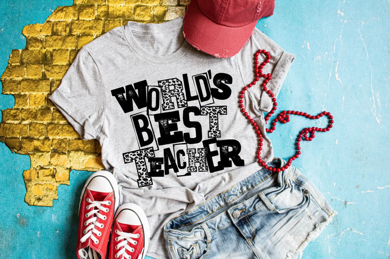 "(1) Short sleeve shirt ""World's Best Teacher"" (accessories in the photo are not included)."
