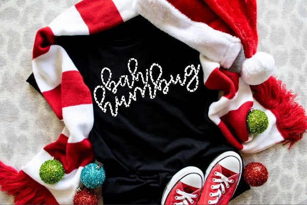 "(1) Short sleeve shirt ""Bah Humbug"" (accessories in the photo are not included)."