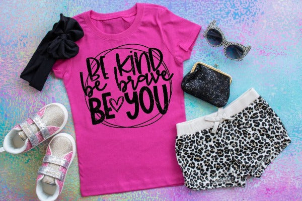 "(1) Short sleeve shirt ""Be Kind Be Brave Be You - Youth Shirt"" (accessories in the photo are not included)."