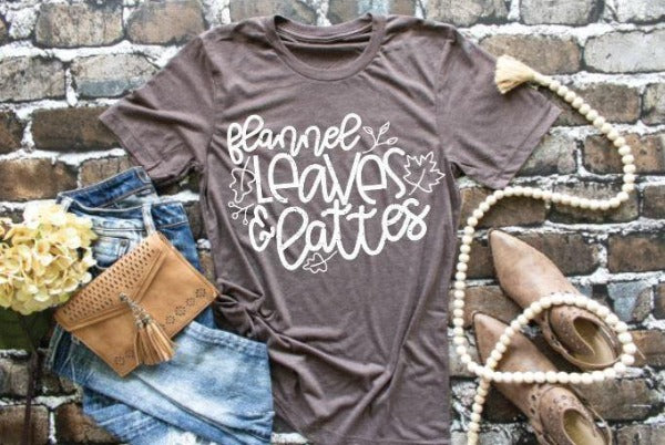 "(1) Short sleeve shirt ""Flannel Leaves And Lattes"" (accessories in the photo are not included)."