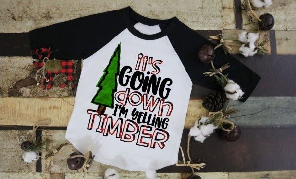 "(1) 3/4 sleeve shirt ""It's Going Down I'm Yelling Timber - Youth Shirt"" (accessories in the photo are not included)."