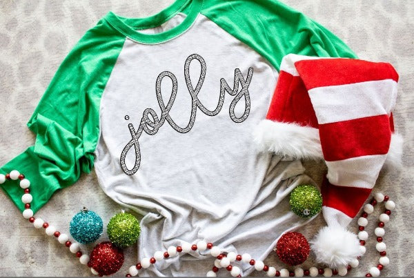 "(1) 3/4 sleeve shirt ""Jolly"" (accessories in the photo are not included)."