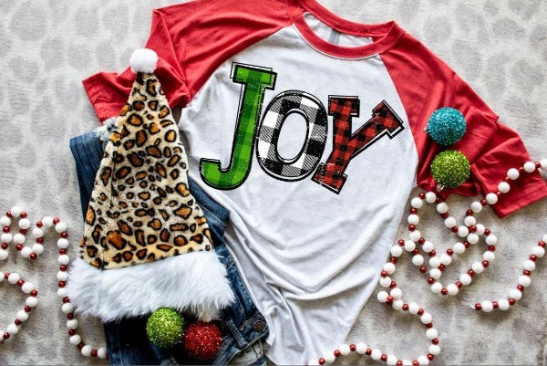 "(1) 3/4 sleeve shirt ""Joy"" (accessories in the photo are not included)."