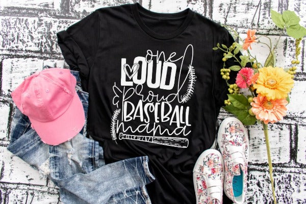 "(1) Short sleeve shirt ""One Loud And Proud Baseball Mama"" (accessories in the photo are not included)."