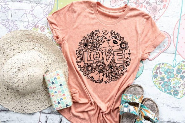 "(1) Short sleeve shirt ""Floral Love"" (accessories in the photo are not included)."