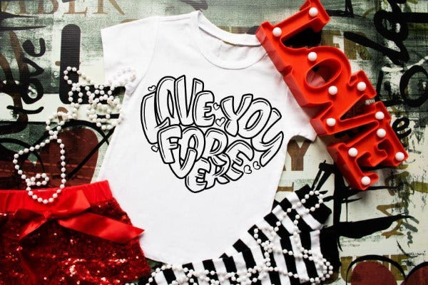 "(1) Short sleeve shirt ""Love You Forever Coloring Shirt"" (accessories in the photo are not included)."