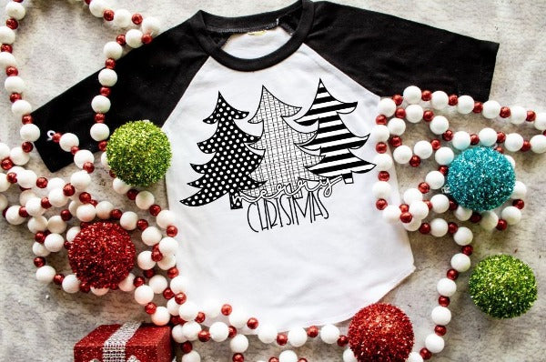 "(1) 3/4 sleeve shirt ""Merry Christmas 3 Trees Black and White - Youth Shirt"" (accessories in the photo are not included)."