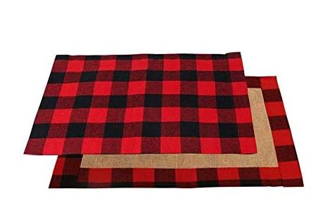 Red & black buffalo plaid cotton with waterproof coating on one side and burlap on the other.