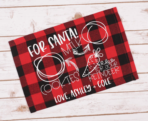 "(1) Placemat, Double Sided. ""Custom For Santa! Placemat"" image is printed on the front side only with one line of custom text."
