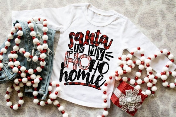 "(1) Youth Jersey Long Sleeve Tee ""Santa Is My Ho Ho Homie""  (accessories in the photo are not included)."