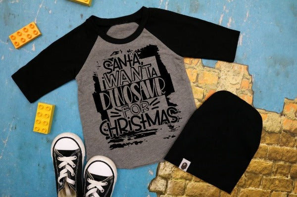 "(1) 3/4 sleeve shirt ""Santa I Want A Dinosaur For Christmas - Youth Shirt"" (accessories in the photo are not included)."