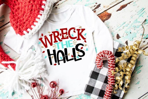 "(1) Youth Jersey Long Sleeve Tee ""Wreck The Halls""  (accessories in the photo are not included)."
