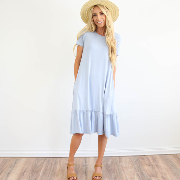 Kerry Ruffle Dress in Light Blue