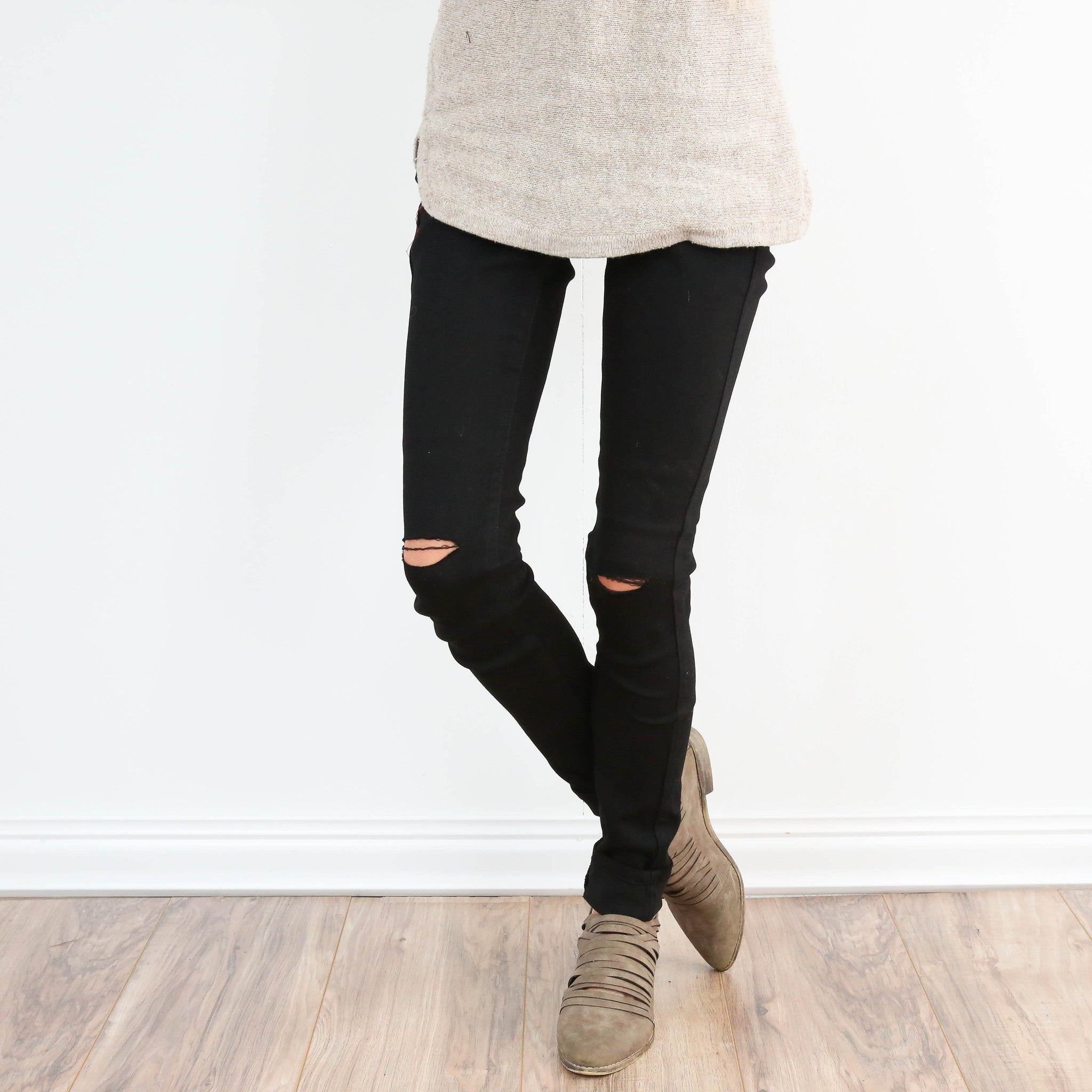 Distressed Black Denim