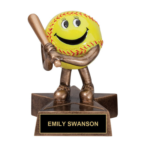Cartoon Softball Trophy