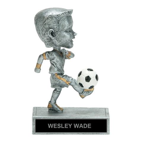 Kicking It Bobble Head Soccer Trophy