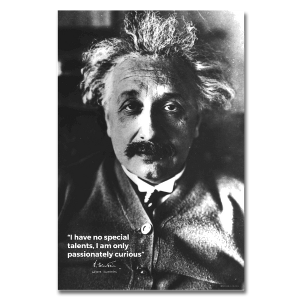Albert Einsten Curious Quote Poster 24x36