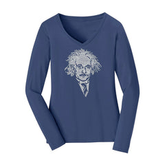 Einstein Crystal Portrait Women's Long Sleeve V-Neck