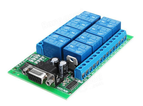 8 Channel Interface RS232 Relay Module Serial Remote Control Switch