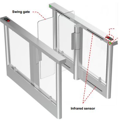 TPW-322CS Optical Glass Swing Gate - Full Hight