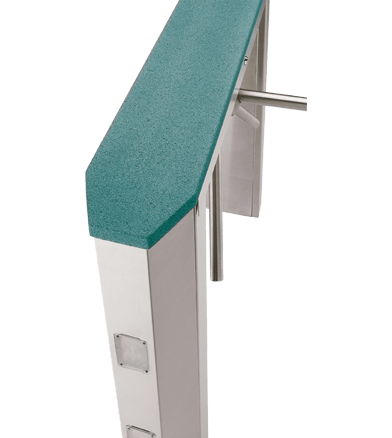 PTZ Trapezoid End: Executive Pass Thru Series Waist High Turnstiles