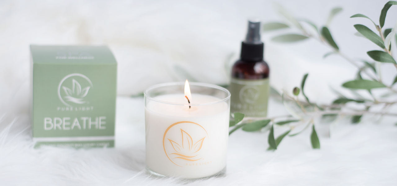 Pure Light Breathe organic aromatherapy candle