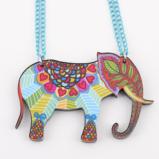 Acrylic Elephant Pendant Necklace