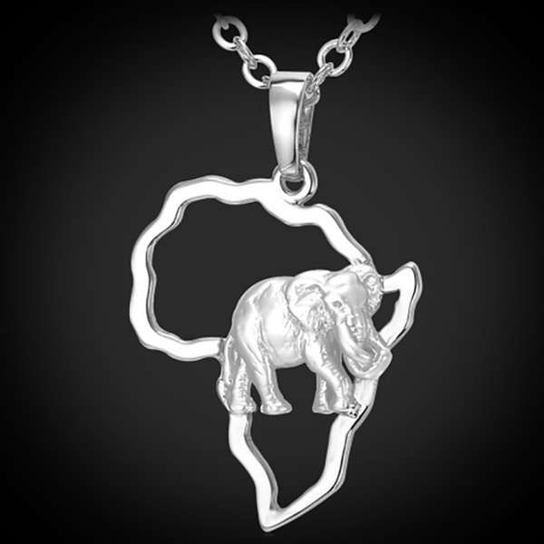 Lonely African Elephant 18K Gold or Sterling Silver Necklace