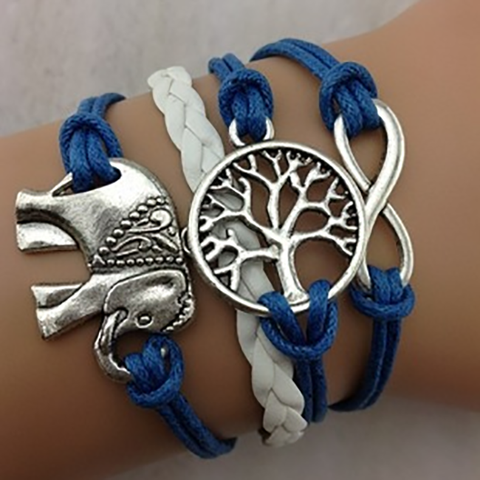 Elephant, Wishing Tree, and Infinity Bracelet