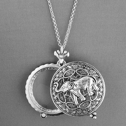 Vintage Elephant Magnifying Glass Pendant Necklace