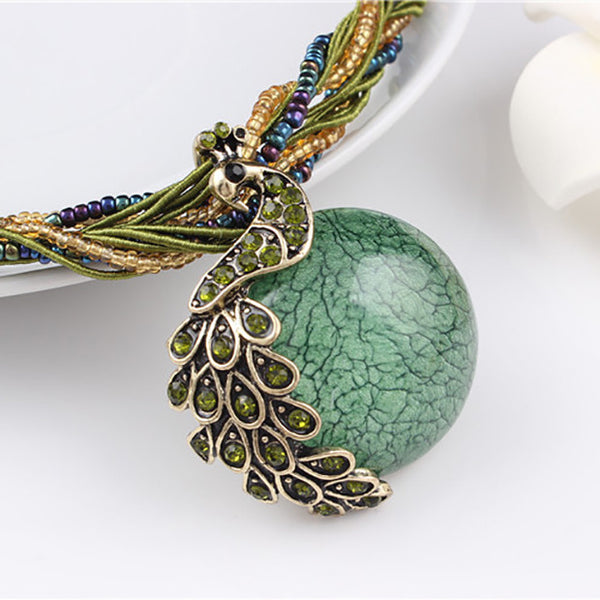 Ferdinand and Isabella - Stone Peacock Necklace