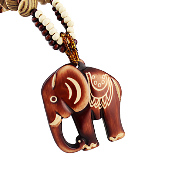 Tribal Wooden Elephant Necklace