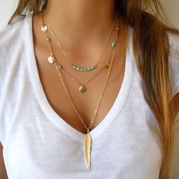 Spiritual Elements - Turquoise Feather Necklace