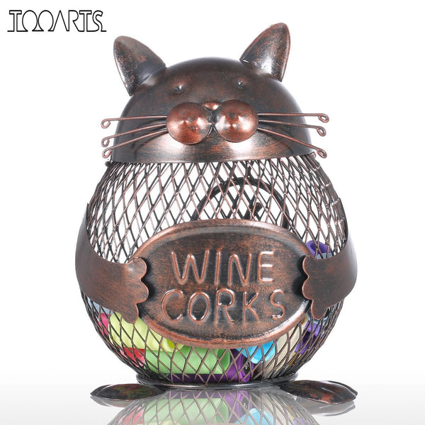 Tooarts Cat Kitten Wine Cork Container Animal Ornament Iron Box Art Practical Crafts Favor Gift Home Decoration