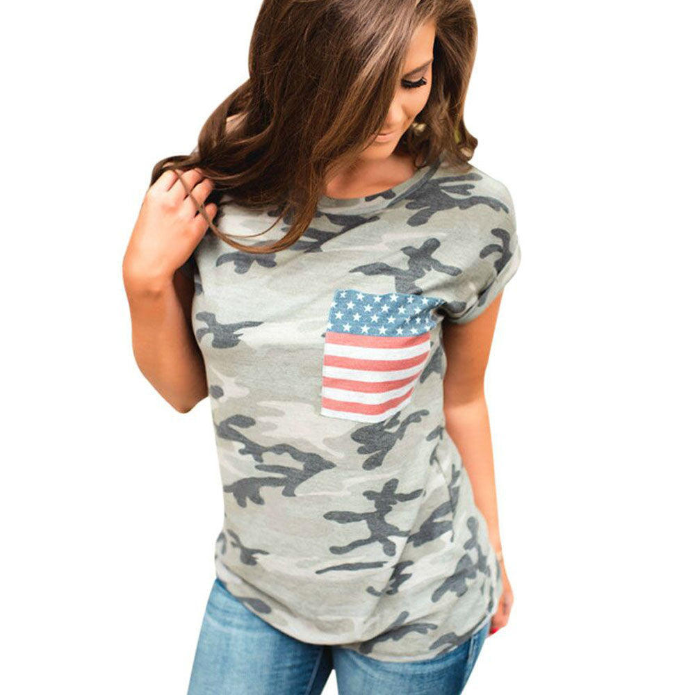 2017 Summer T shirt Women Camouflage American Flag Short Sleeve Blusa Street Style Casual Female T Shirt Tee Femme