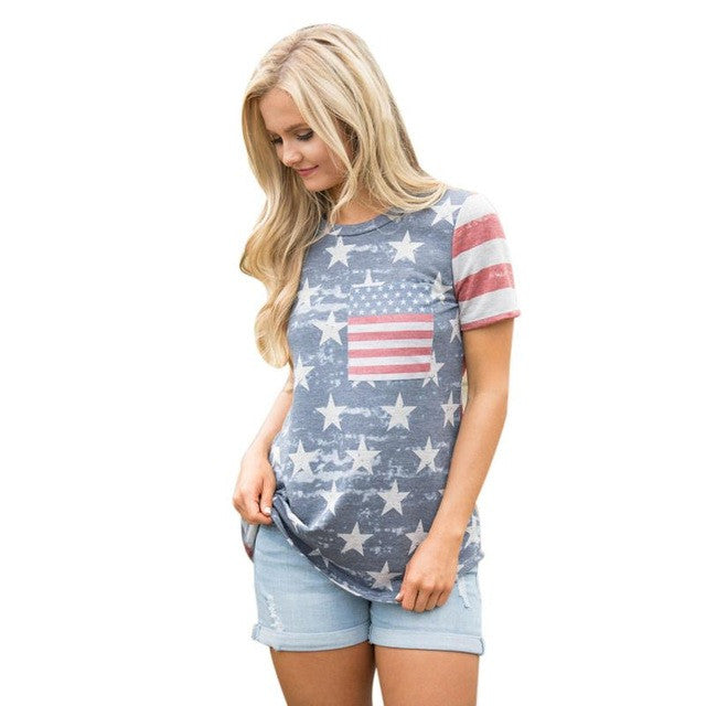 Summer Womens T-Shirt Print American Flag Sexy Short Sleeve O neck Chic Cotton T-shirts Female Tops Blusa Tee Shirt